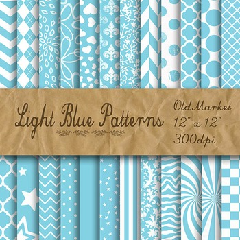 Light Blue Pattern Designs - Digital Paper Pack - 24 Different Papers - 12 x 12