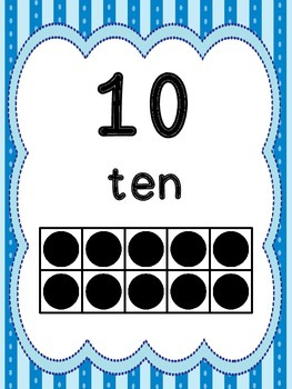 Light Blue Striped Number Posters with Ten Frame