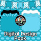 Light Blue TPT Seller Design Pack - Digital Papers, Filled Frames, Banner