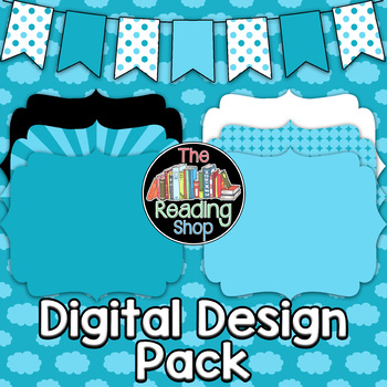 Light Blue Patterned Digital Papers Frames Banner