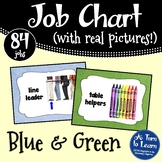 Light Blue and Green Classroom Job Chart with Pictures