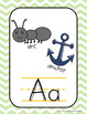 Light Blue and Lime Green Chevron Alphabet, Right and Left, and Digraph Posters