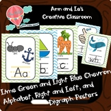Light Blue and Lime Green Chevron Alphabet, Right and Left