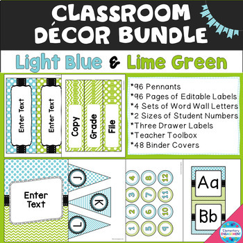 Light Blue and Lime Green Decor Bundle