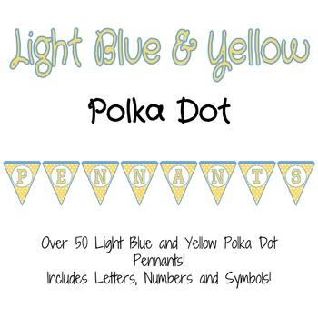 Light Blue and Yellow Polka Dot Pennants