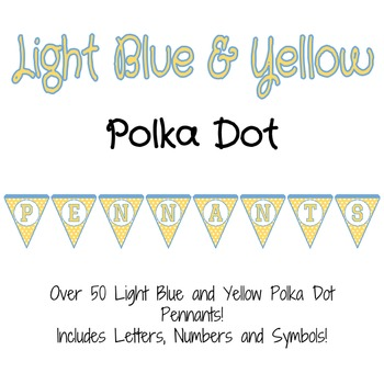 Light Blue and Yellow Polka Dot Pennants