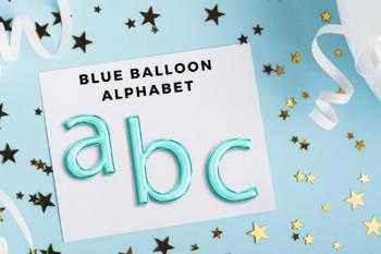 Light Blue foil balloon alphabet clipart, Blue balloons, Blue Foil alphabet,