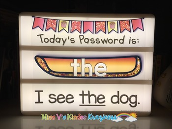 EDITABLE Light Box Designs: Fry's First 100 Sight Words {Daily Passwords}
