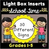 Light Box Inserts Back to School theme