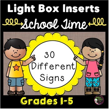 Light Box Inserts Back to School theme