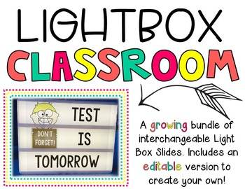 LightBox Slide Inserts for the Classroom {Includes Editable Slides}
