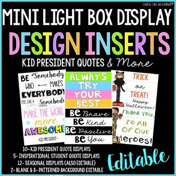 Lightbox MINI Editable Design Inserts - Kid President and More!