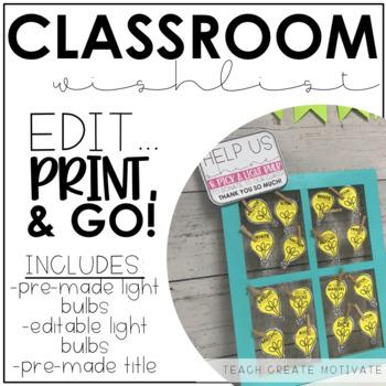 Light Bulb Classroom Wishlist (Editable)