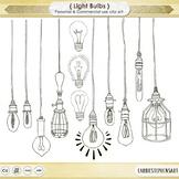 Dangling Light Bulb ClipArt, Bright Ideas Black Line Art, Edison Bulb Images