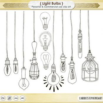 Dangling Light Bulb ClipArt Bright Ideas Black Line Art Edison Images