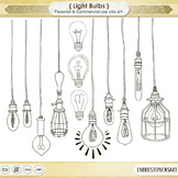 Dangling Light Bulb ClipArt, Bright Ideas Black Line Art,