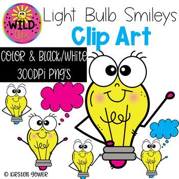 Light Bulb Smileys Clip Art