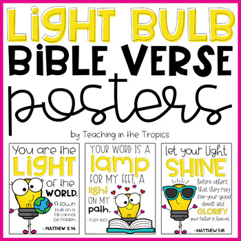 Light Bulb Themed Bible Verse Posters