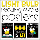 Light Bulb Themed Reading Quote Posters (Black Background)