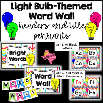 Light Bulb-Themed Word Wall Headers & Title Pennants