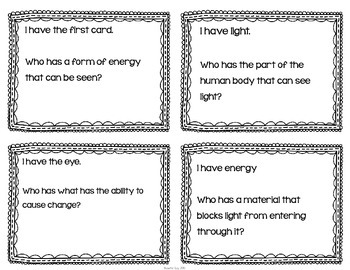"Light & Color Interactive Vocabulary Game ""I Have, Who Has?"" Cards"