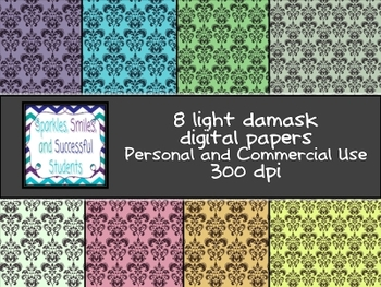 Digital Papers: Light Damask Pack