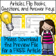 Light Energy Articles, Flip Books, Comprehension Questions, and Assessment