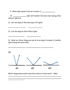 Light Energy Assessment- Great Review for Science Air Test