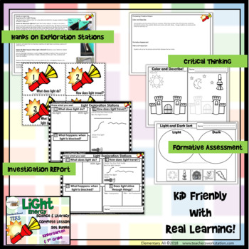Light Energy: Complete Lesson Set Bundle Kindergarten & 1st (TEKS & NGSS)