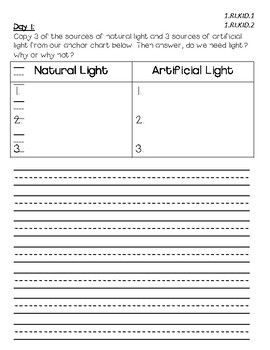 Light Energy- Daily writing tasks to align with Interactive Read Alouds