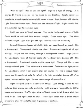 Light Energy {Differentiated Close Reading Passages & Questions}