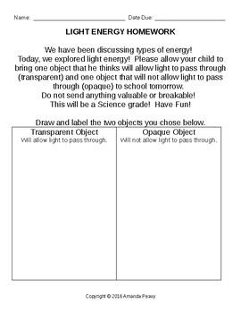 Light Energy Homework