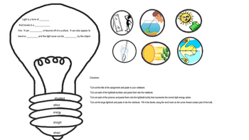 Light Energy Interactive Notebook Activity