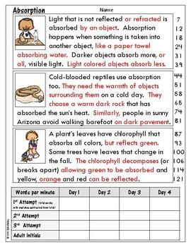 Light Energy Nonfiction Fluency - Absorption