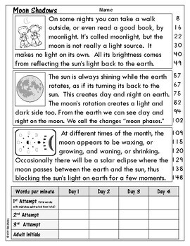 Light Energy Nonfiction Fluency - Moon Shadows