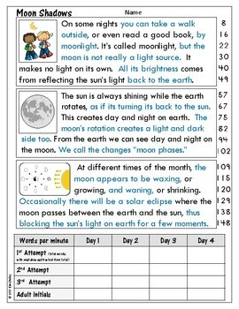 Light Energy Nonfiction Fluency - Moon Shadows