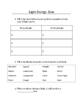 Light Energy Quiz