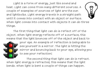 Light Energy Reading Passage & Activities