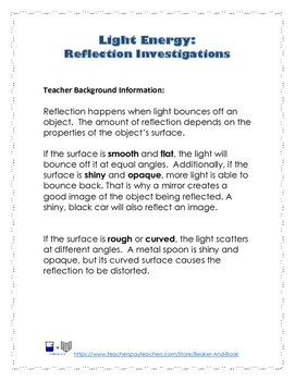 Light Energy: Reflection Investigations