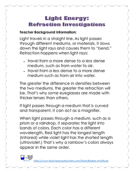 Light Energy: Refraction Investigations