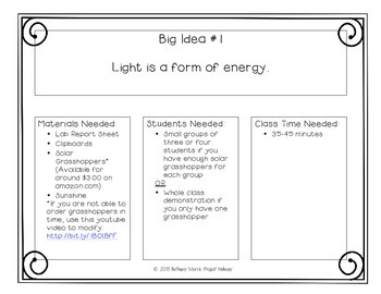Light Energy: Six Science Big Ideas with Investigations to Prove Them