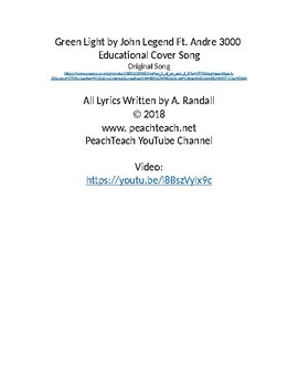 Light Energy Song Lyrics Plus Student Interactive Notebook Version