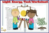 Light Energy  Test/Worksheet