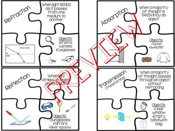 Light Energy Vocabulary Puzzle Activity