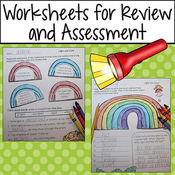 Light Energy Worksheets and Printables for Review and Assessment