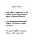 Light Facts - Light wave, sun light, speed of light, bulbs, photons