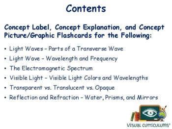 Light Flashcards -task cards, study guide, state exam prep