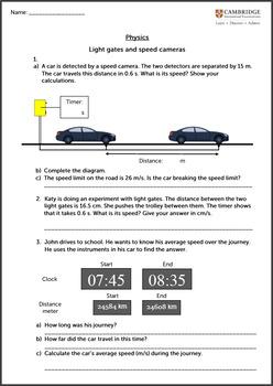 Light Gates and Speed Cameras Worksheet - Physics