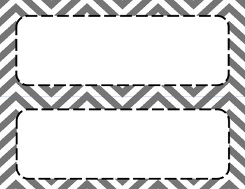 Light Gray Chevron Classroom Labels and Tags