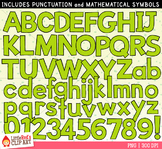 Light Green Letters and Numbers Clip Art